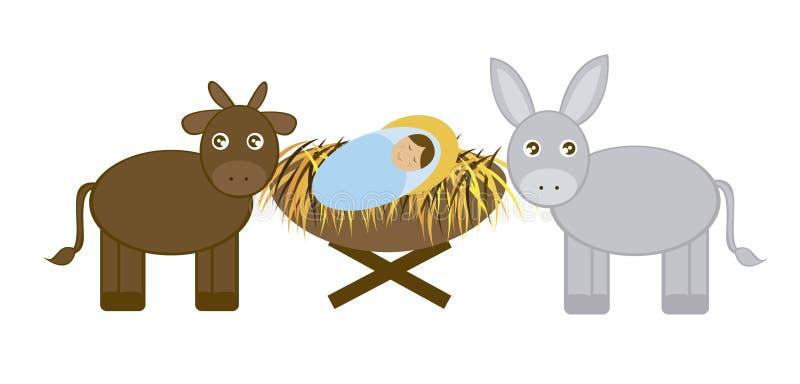 Bebé Jesús con el burro y el buey ilustración del vector