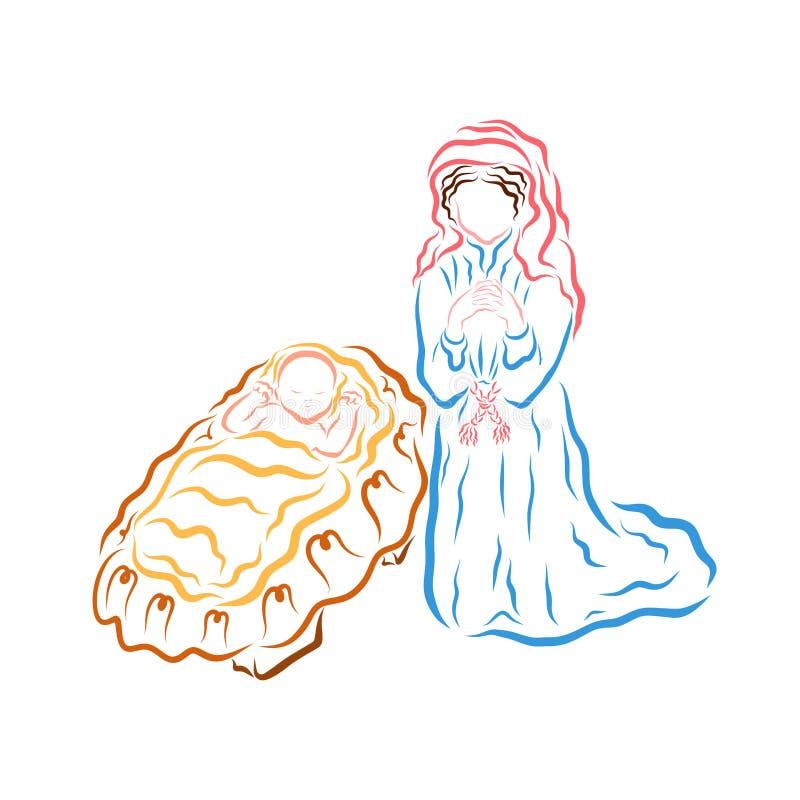 Bebé Jesús en el pesebre y Maria de rogación libre illustration