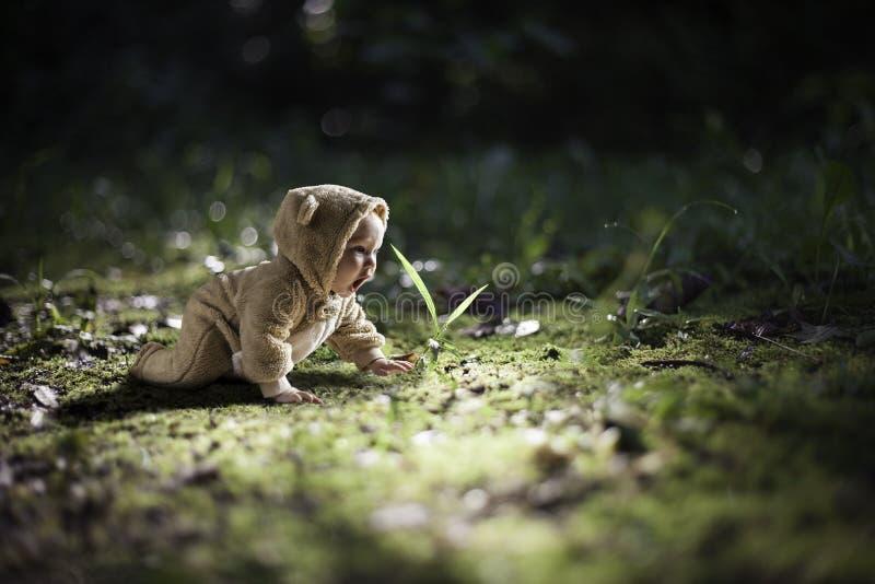 Bebé joven en un arrastre del equipo del oso ilustración del vector