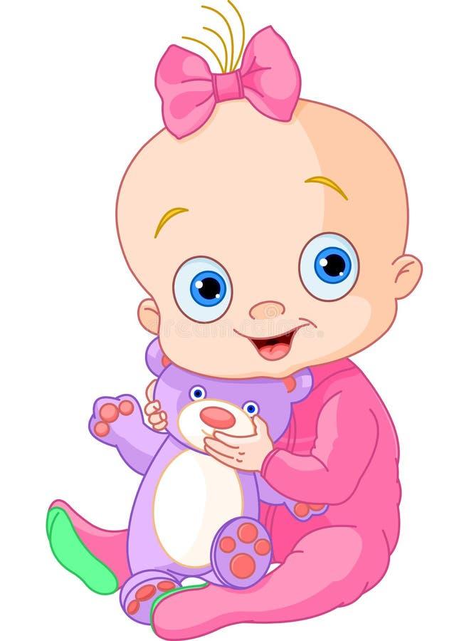 Bebé lindo con el oso del peluche stock de ilustración
