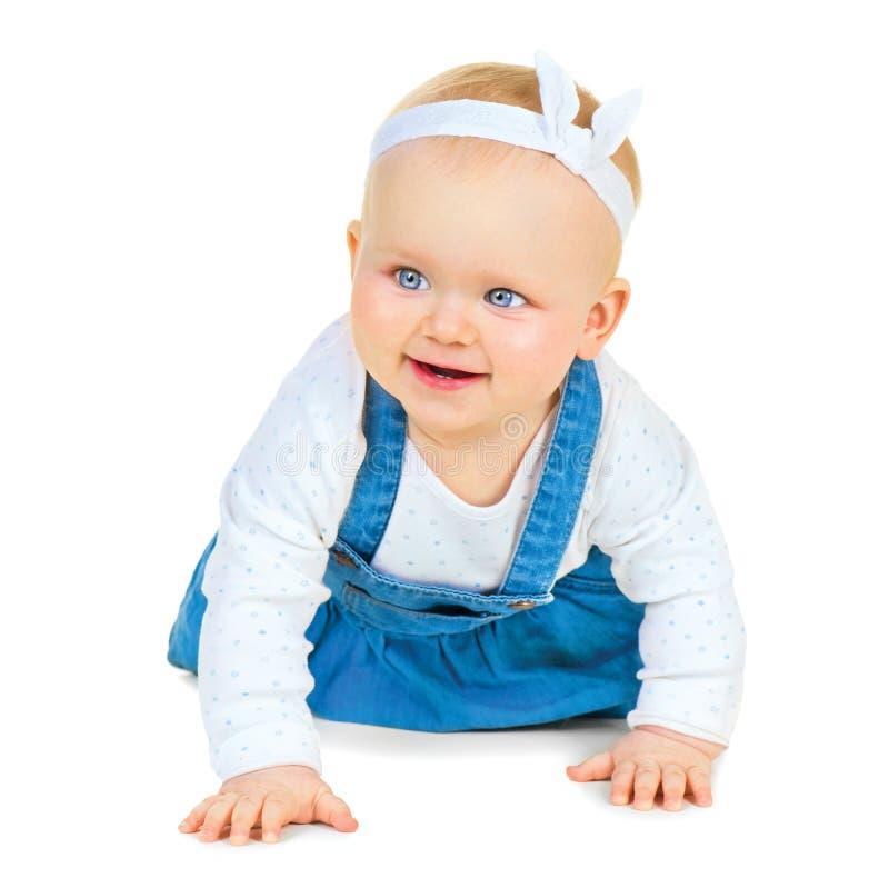 Bebé lindo de arrastre aislado en blanco foto de archivo libre de regalías