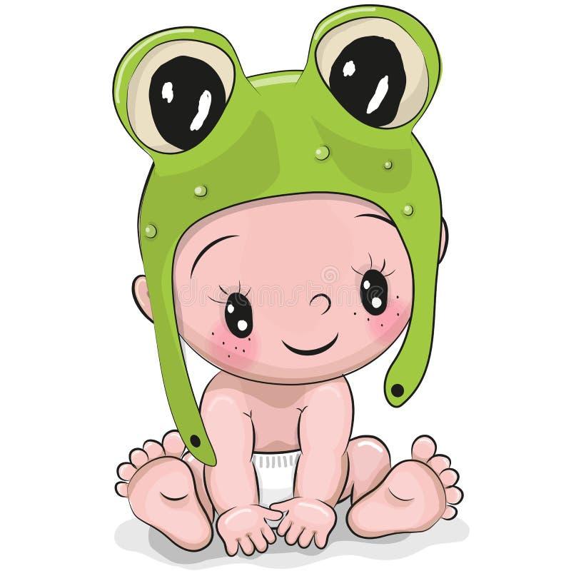 Bebé lindo de la historieta en un sombrero de la rana libre illustration