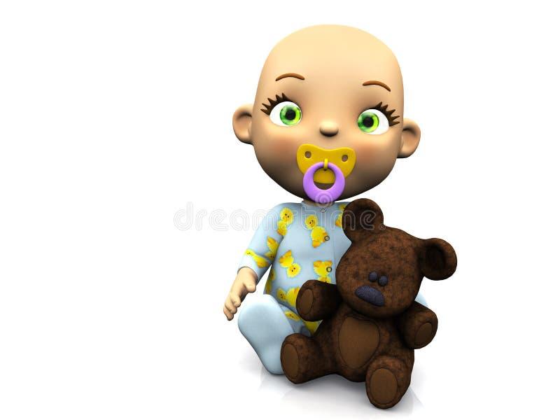 Bebé lindo de la historieta que sostiene un oso de peluche. stock de ilustración