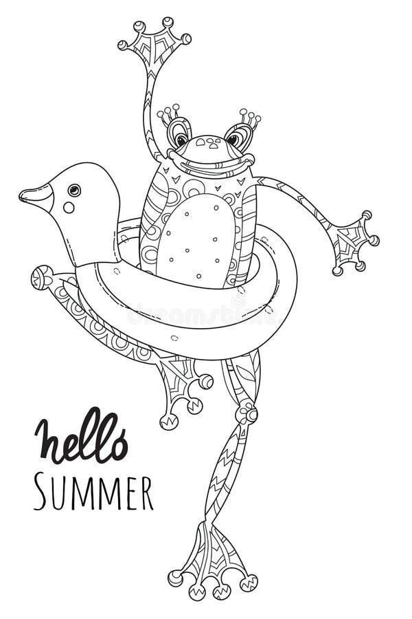 Bebé lindo de la rana con el pato del anillo de goma ilustración del vector