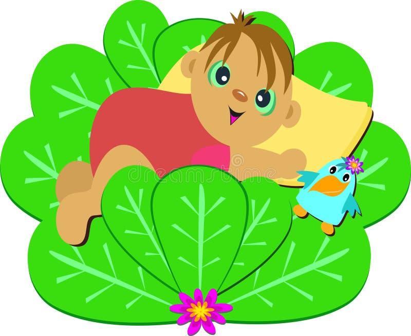 Bebé lindo en Bush con el pájaro stock de ilustración