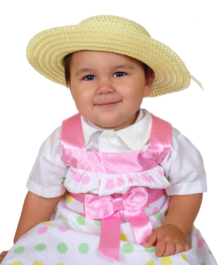 Bebé lindo en color de rosa imagen de archivo