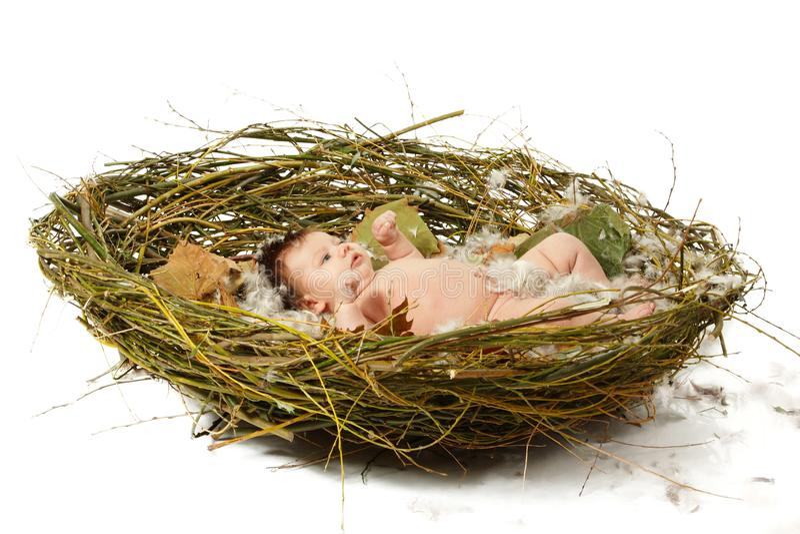 Bebé lindo en la jerarquía casera, niño hermoso de la Navidad foto de archivo libre de regalías