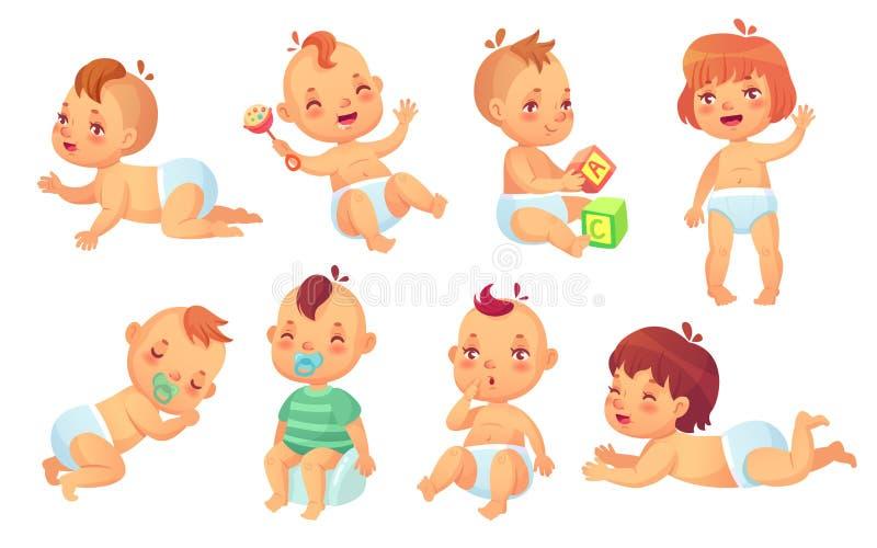 Bebé lindo Juego de caracteres aislado niño feliz de los bebés de la historieta, de la sonrisa y de la risa del vector ilustración del vector