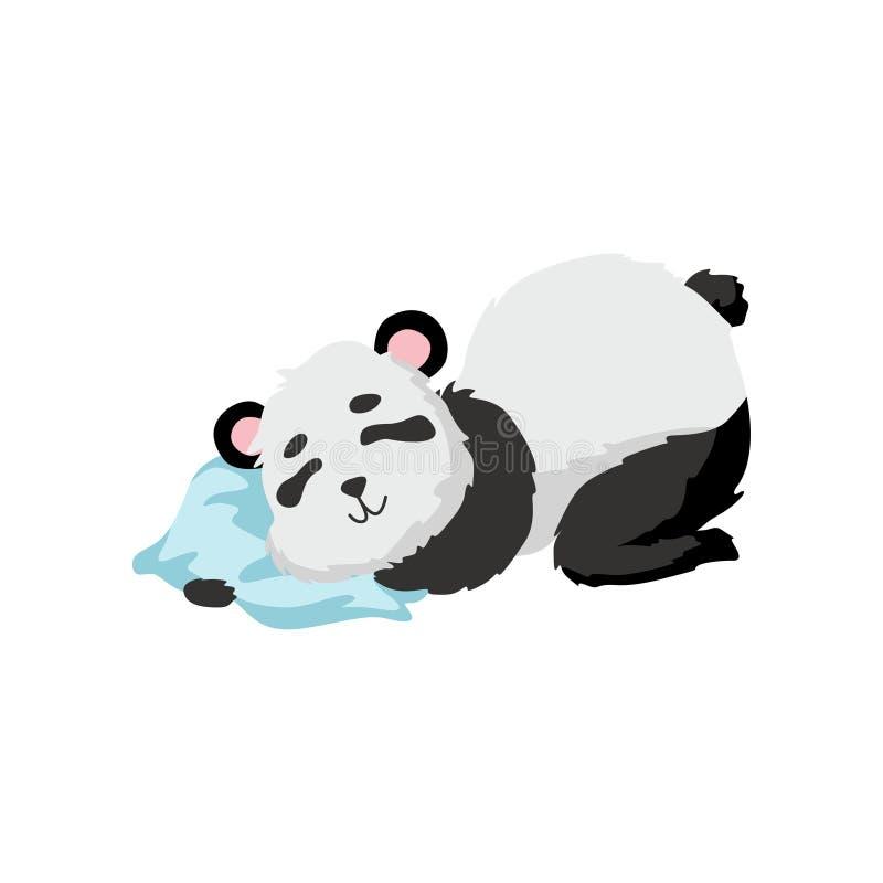 Bebé lindo Panda Bear Sleeping en la almohada, ejemplo animal precioso feliz del vector del carácter ilustración del vector