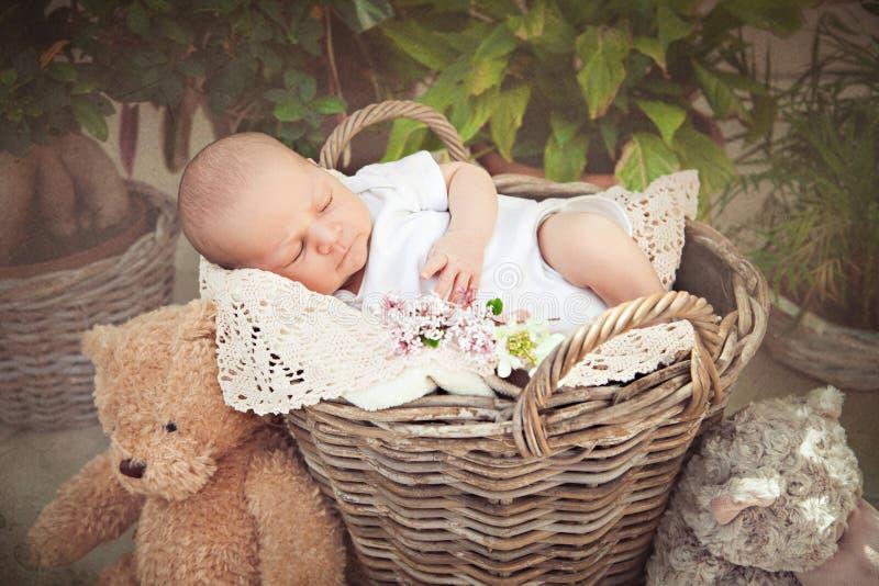 Bebé lindo que duerme en la cesta imagenes de archivo