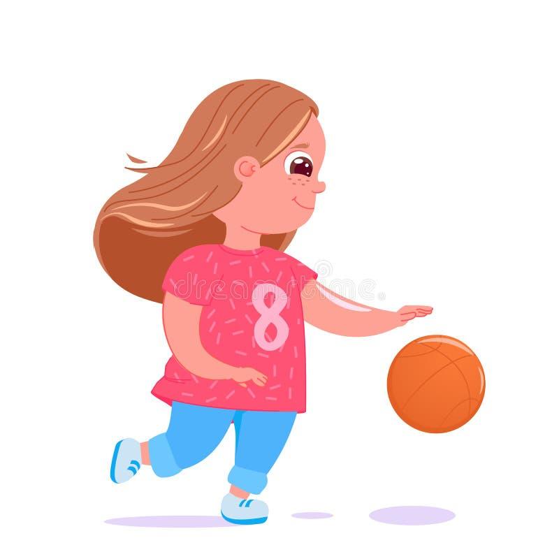 Bebé lindo que juega a baloncesto con una bola Uniforme moderno del equipo del jugador actividades sanas libre illustration
