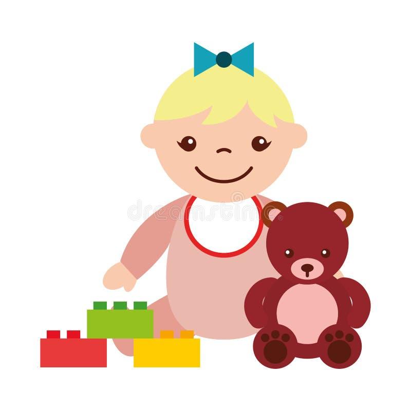 Beb? lindo que se sienta con el oso stock de ilustración