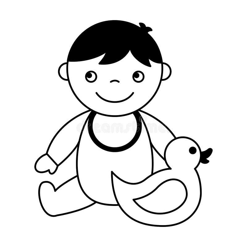 Beb? lindo que se sienta con el pato de goma stock de ilustración