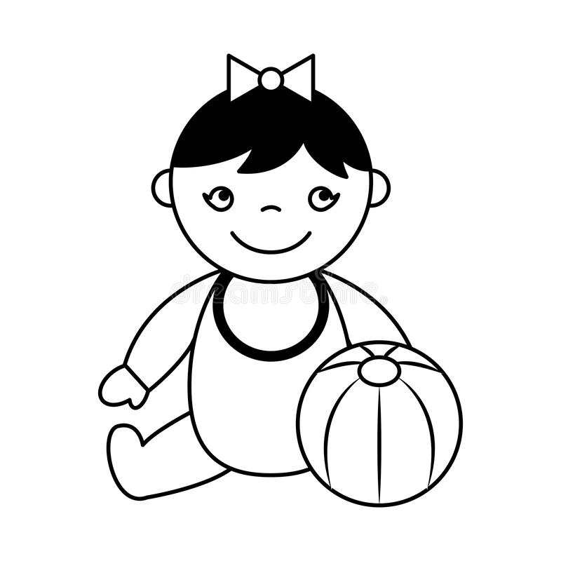 Beb? lindo que se sienta con la bola de goma libre illustration