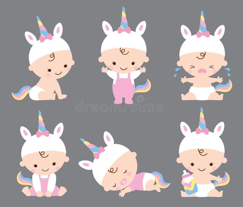 Bebé lindo Unicorn Costume Vector Illustration ilustración del vector