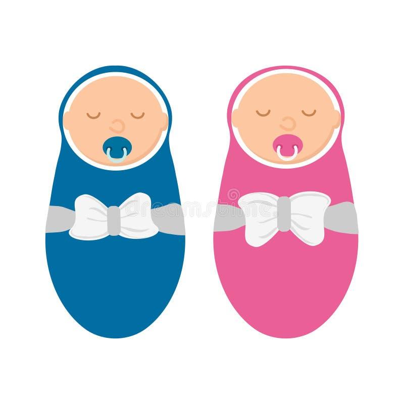 Bebé lindo y bebé aislados en el fondo blanco Recién nacido en envoltura con el pacificador en estilo plano libre illustration