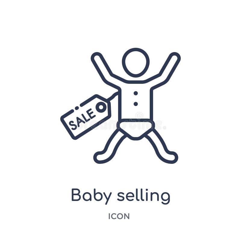 Bebé linear que vende el icono de la colección del esquema del niño y del bebé Línea fina bebé que vende el icono aislado en el f ilustración del vector