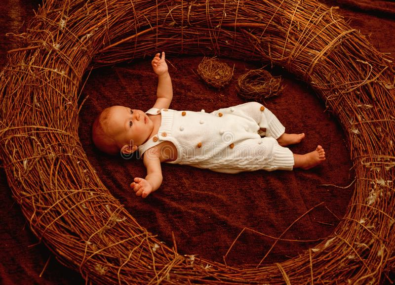 Bebé o muchacho recién nacido Bebé recién nacido despierto en pesebre Rutina recién nacida del cuidado Desarrollo temprano Desarr foto de archivo libre de regalías