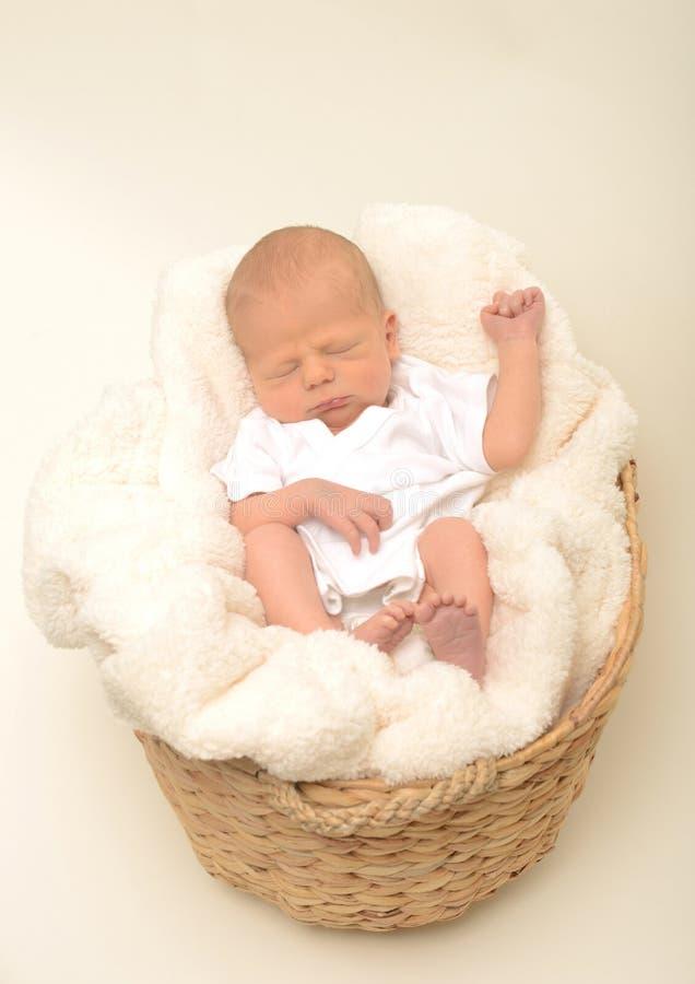 Bebé o niño recién nacido que duerme en cesta imágenes de archivo libres de regalías