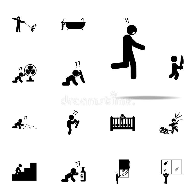 bebé, peligro, icono del cuchillo Sistema universal de los iconos del bebé para el web y el móvil ilustración del vector