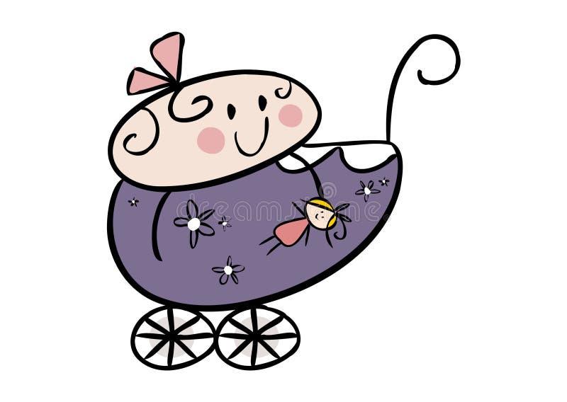 Bebé pequeno bonito em um pram ilustração royalty free