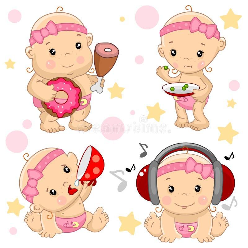 Bebé 3 porciones stock de ilustración