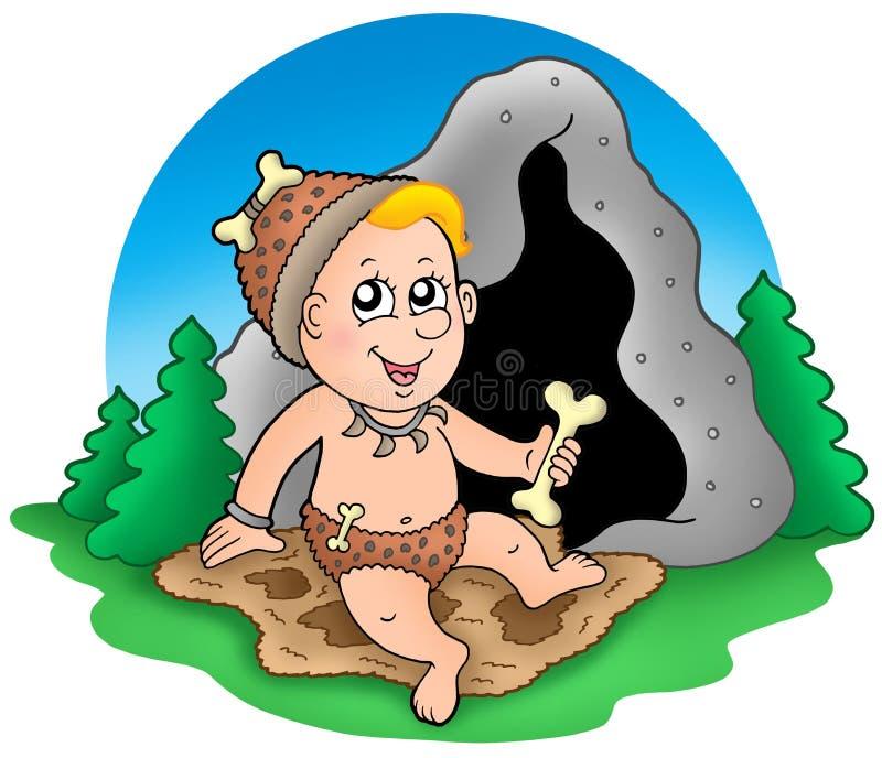 Bebé prehistórico de la historieta antes de la cueva libre illustration