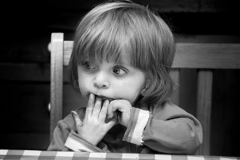 Bebé preocupante fotografía de archivo libre de regalías