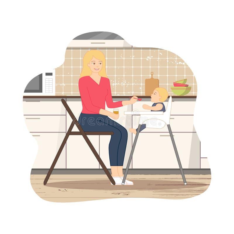 Bebé que alimenta en cocina fotografía de archivo