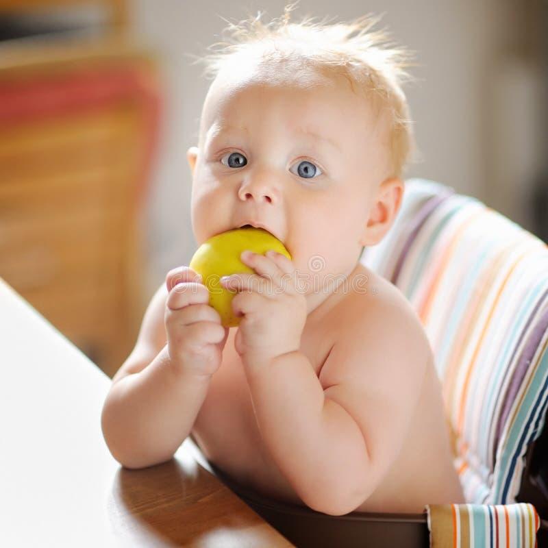 Bebé que come a maçã fotos de stock