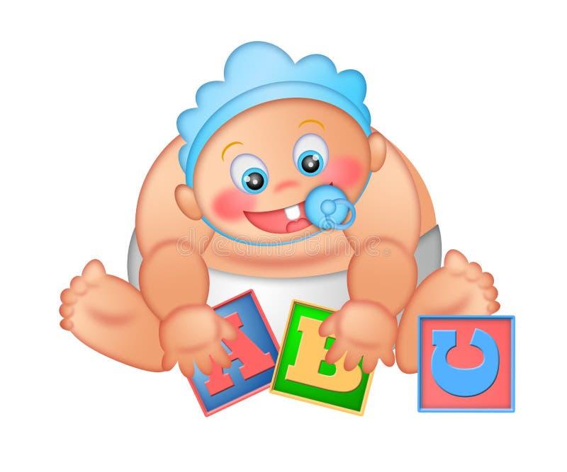 Bebé que joga com blocos do alfabeto ilustração stock