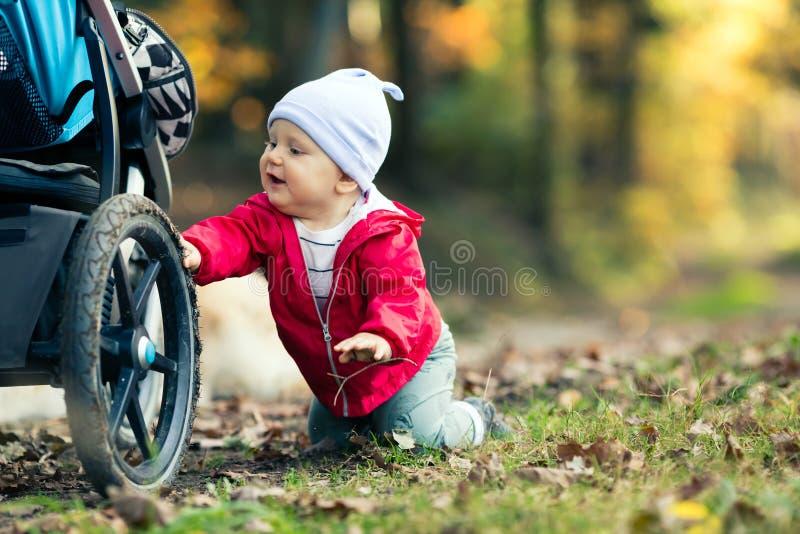 Bebé que juega en bosque del otoño con el cochecito, al aire libre diversión imagen de archivo libre de regalías