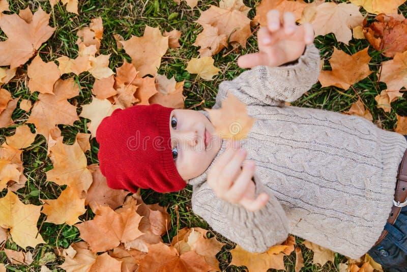 Bebé que miente en la hierba y las hojas de arce, otoño fotografía de archivo libre de regalías