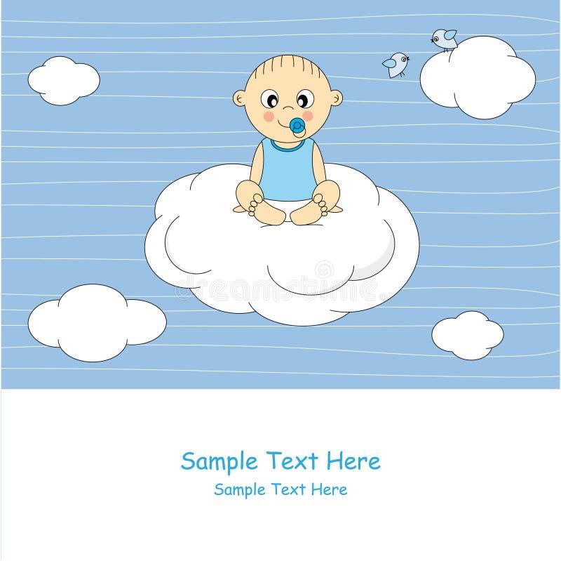 Bebé que se sienta en una nube ilustración del vector