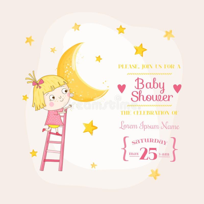 Bebé que sube en una luna - fiesta de bienvenida al bebé o tarjeta de llegada libre illustration