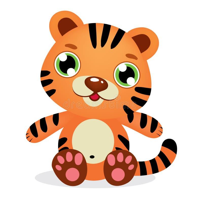 Beb? rayado lindo Tiger Kid Graphic Illustration stock de ilustración