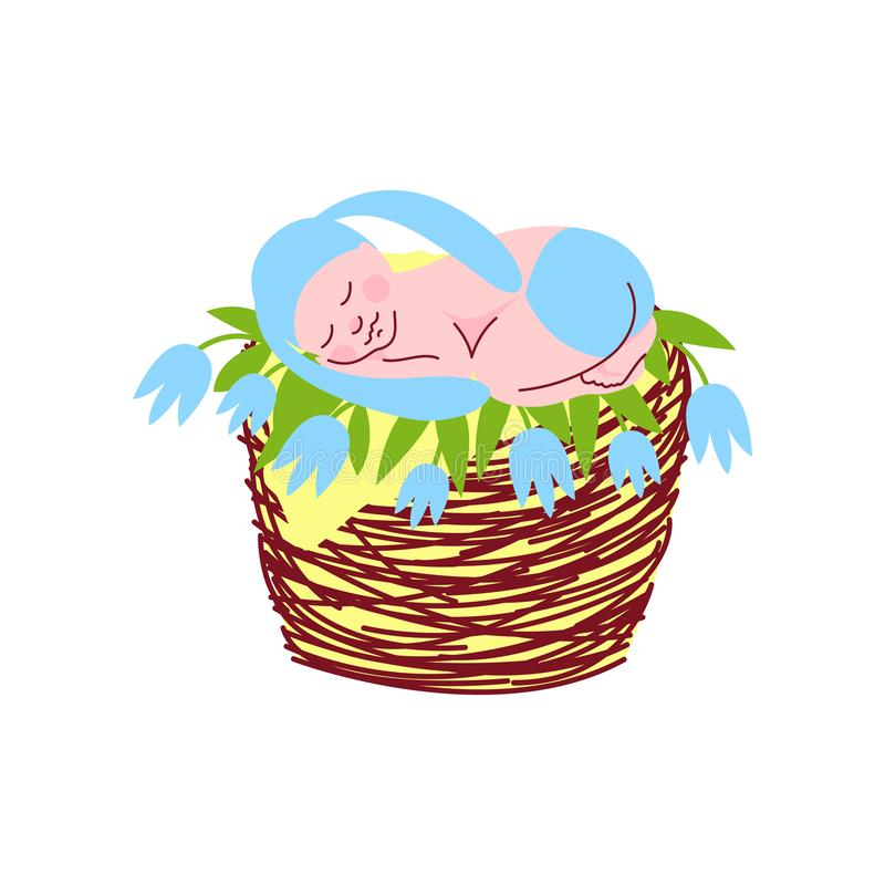 Bebé recién nacido adorable en Bunny Cap Sleeping azul claro en el ejemplo del vector de la cesta de mimbre libre illustration