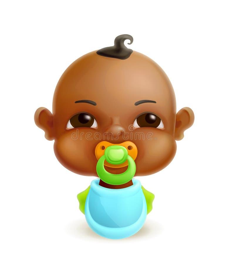 Bebé recién nacido africano stock de ilustración