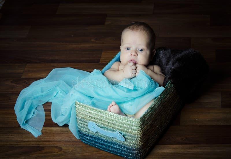 Bebé recién nacido dentro de la cesta de la tela imagen de archivo