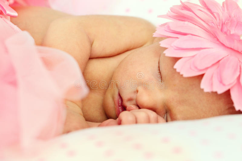 Bebé recién nacido durmiente adorable foto de archivo libre de regalías