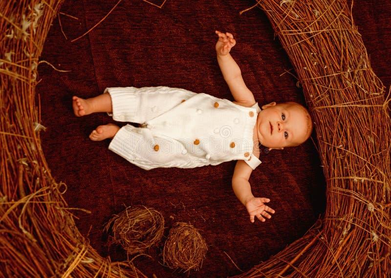 Bebé recién nacido en atención sanitaria Bebé o muchacho recién nacido despierto en pesebre Saludes infantiles y crecimiento Emoc imagen de archivo libre de regalías