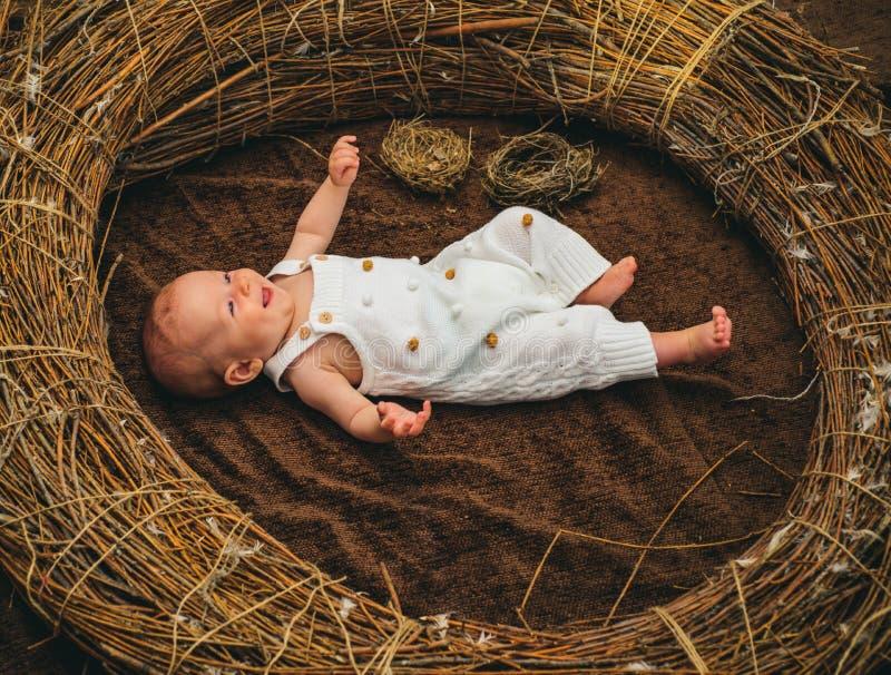 Bebé recién nacido en cuidado de día Bebé recién nacido feliz en pesebre Suministro de servicios seguro de la maternidad Maternid imagen de archivo libre de regalías