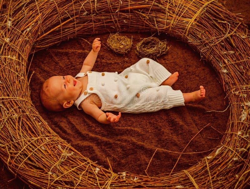 Bebé recién nacido en cuidado de día Bebé recién nacido feliz en pesebre Suministro de servicios seguro de la maternidad Maternid imagen de archivo