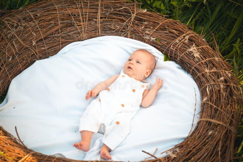 Bebé recién nacido en pesebre Bebé recién nacido despierto Pequeña muchacha o pequeño muchacho en cuidado de día Poniendo los pañ foto de archivo libre de regalías