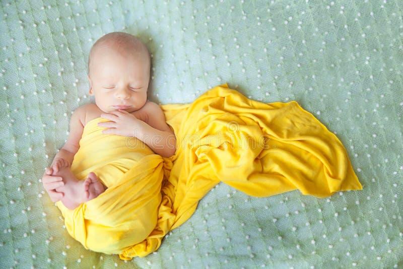 Bebé recién nacido lindo durmiente en una manta verde imagen de archivo libre de regalías