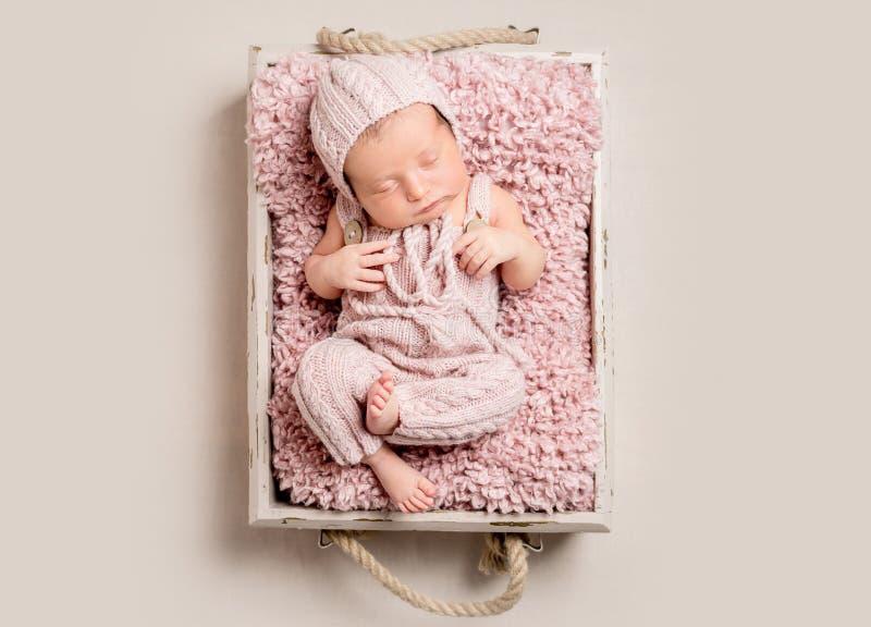 Bebé recién nacido magnífico que duerme, visión superior fotos de archivo libres de regalías