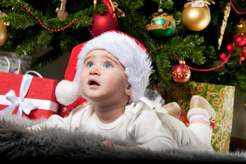 Bebé sob a árvore de Natal foto de stock royalty free