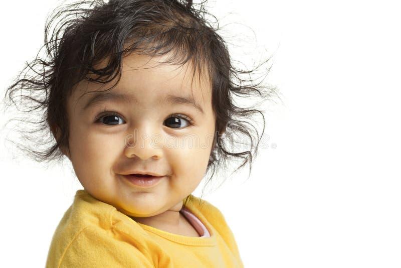 Bebé sonriente, aislado, blanco imagen de archivo