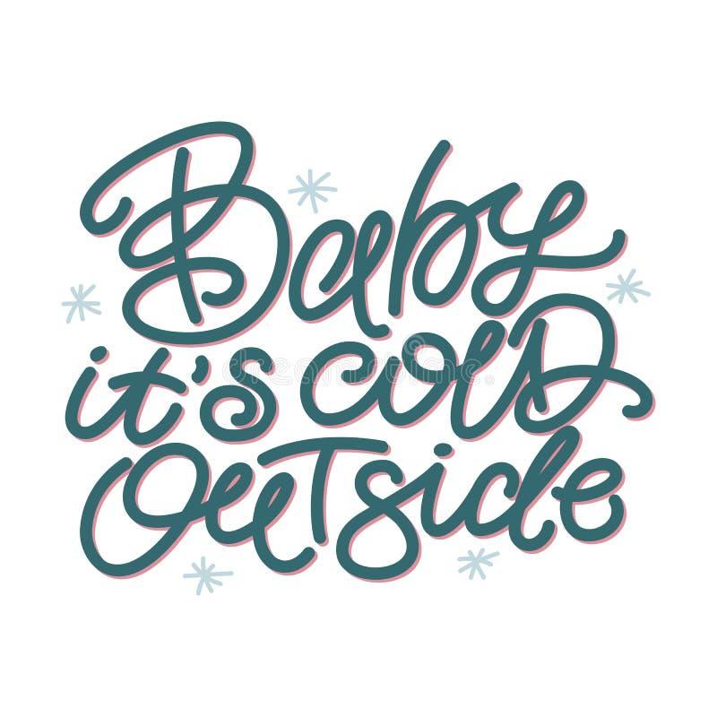 Bebé su exterior frío, cita típica de la Navidad stock de ilustración