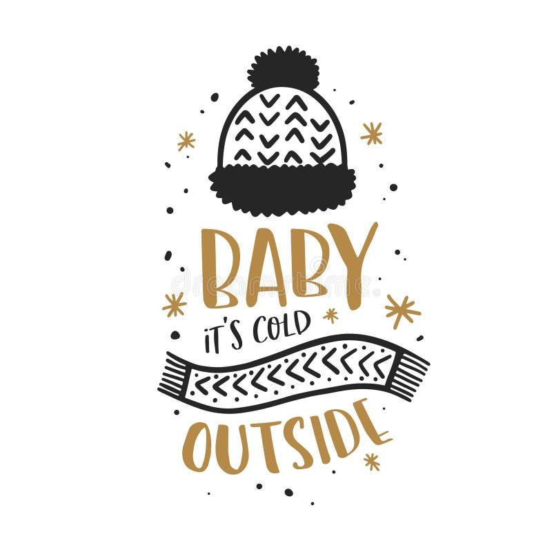 Bebé su tipografía de la Navidad del exterior del frío Ilustración del vector stock de ilustración